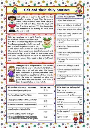 daily routine exercises elementary pdf