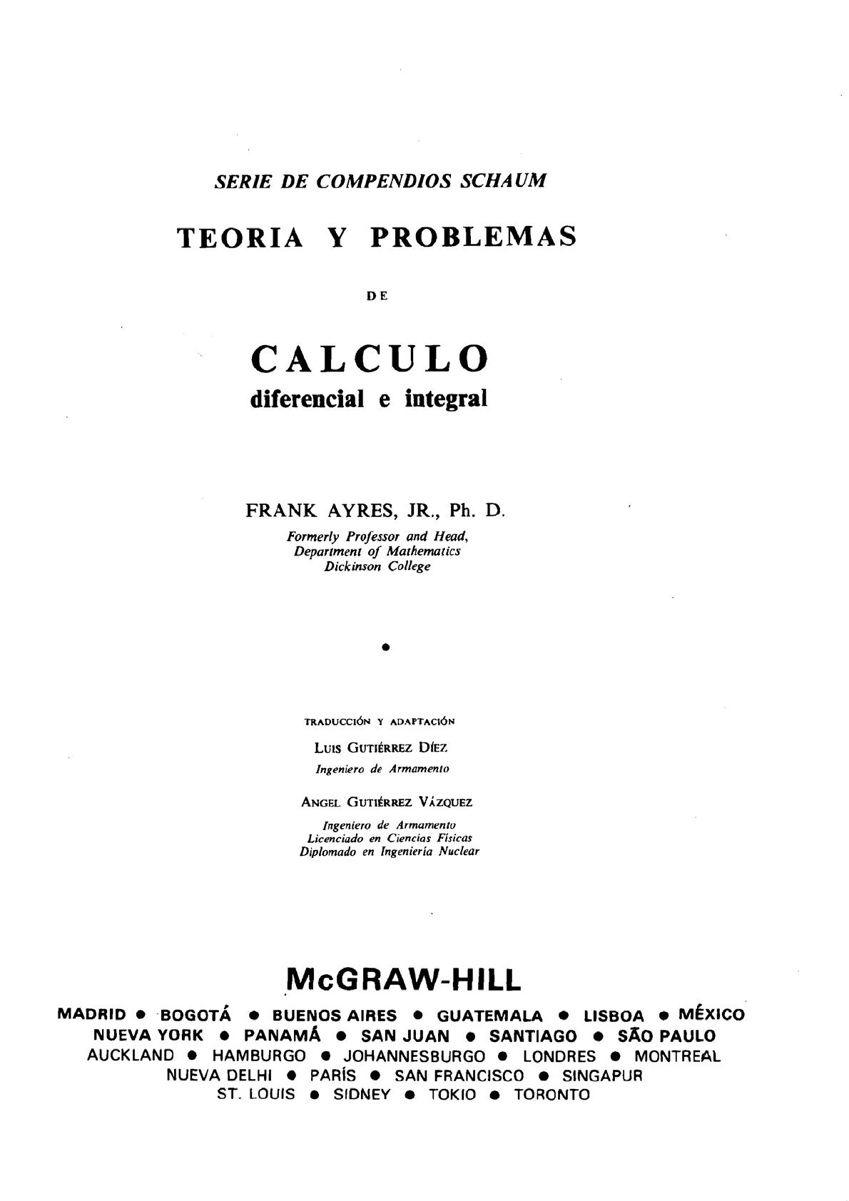 calculo diferencial e integral frank ayres serie schaum pdf