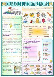countable and uncountable nouns quantifiers exercises pdf