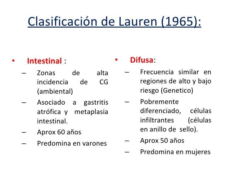 clasificacion de lauren para cancer gastrico pdf