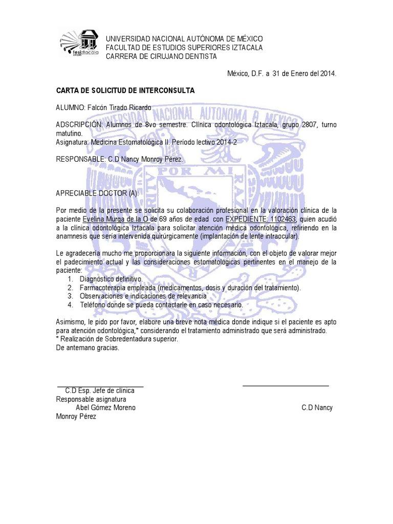 carta de solicitud de internado medico