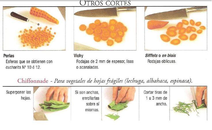 cortes de verduras gastronomia nombres pdf