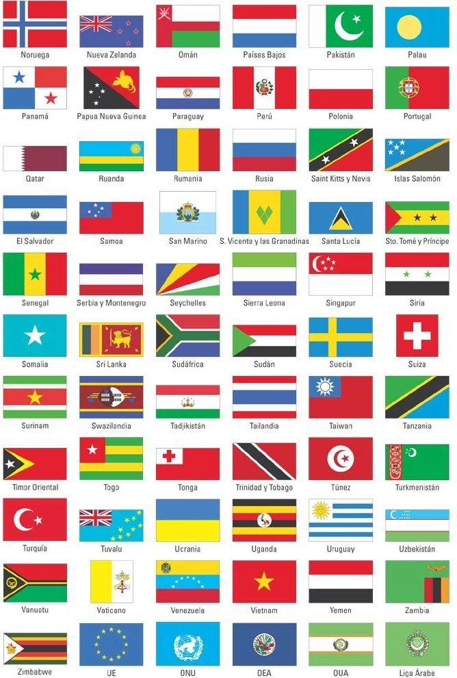 banderas del mundo con nombres en pdf