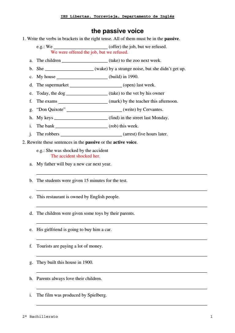 active to passive voice exercises pdf