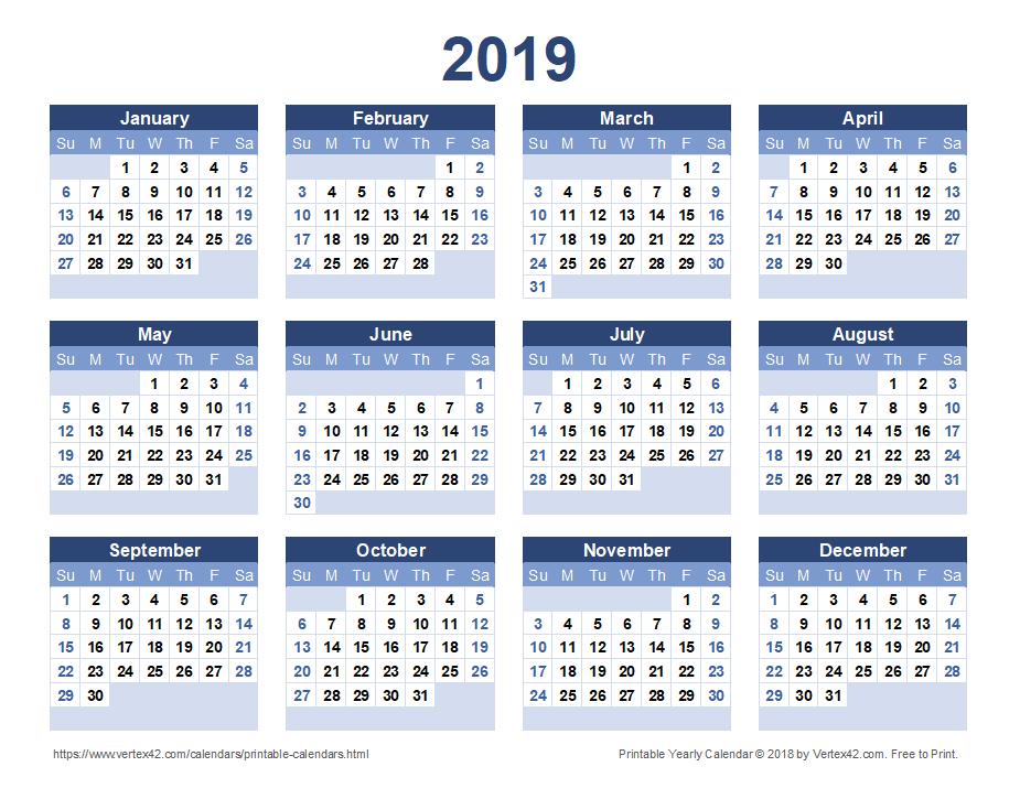 calendar 2019 to print pdf