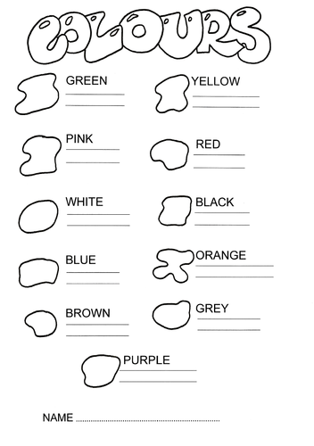colours in english exercises pdf
