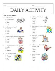 daily routines multiple choice pdf